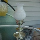 "14"" Brass like finish Table Lamp w/glass hobb shade"
