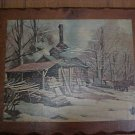 Solid wood picture winter scene with cabin