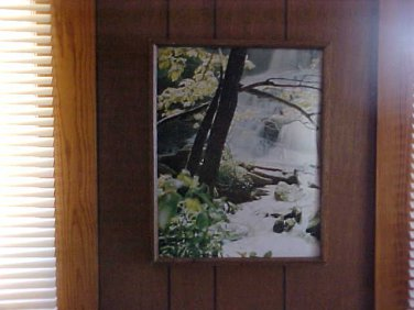 Spring scene Waterfall with wood frame Painting
