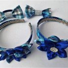 4PCS Blue Plaid  Kanzashi Pointed Petal  Set