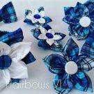 7pcs Blue Plaid  Kanzashi Pointed Petal Set