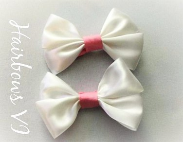 "4"" White & Pink Satin  Hair Bows"