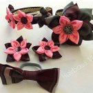 5pcs Plaid Kanzashi Pointed Petals Accessory Set