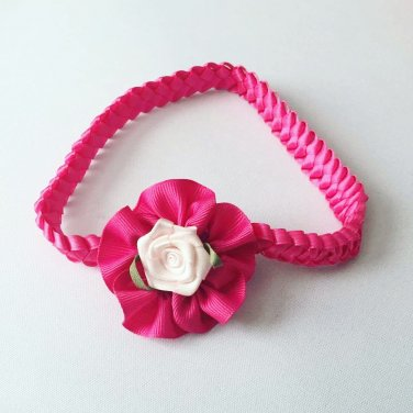Pink & white Braided Headband