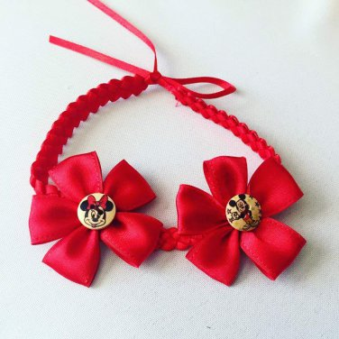 Red Mickey & Minnie Braided Headband