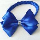 Blue Bow on Braided Headband