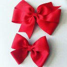 2 Organza Red Hair Bows
