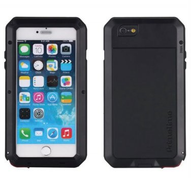 Apple iPhone 6 Plus PrimeTime Black Water Resistant Tempered Glass Case Cover