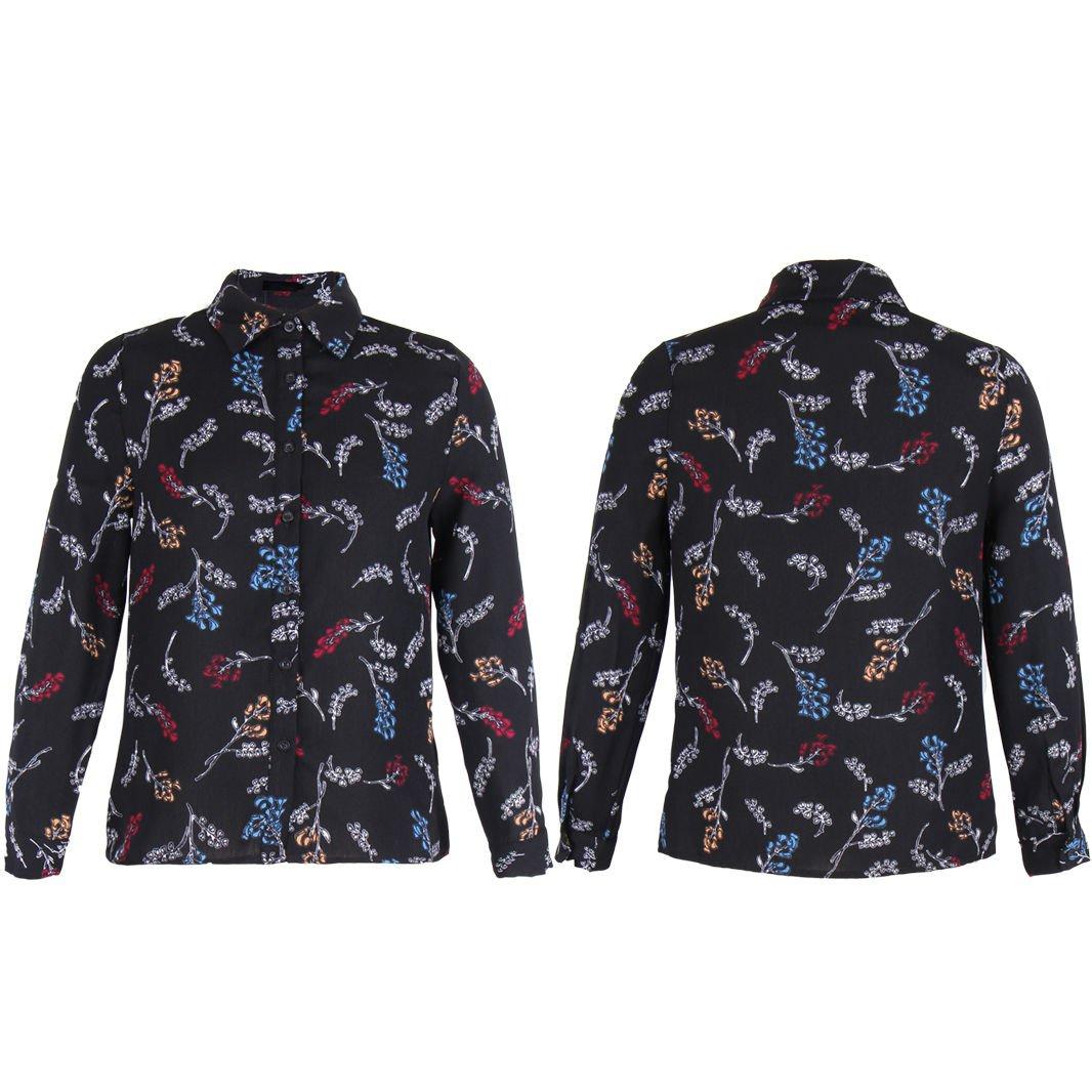 New Women Celeb Black Crepe Casual Blouse Tops Blouse Print Basic Shirt 4-14 UK