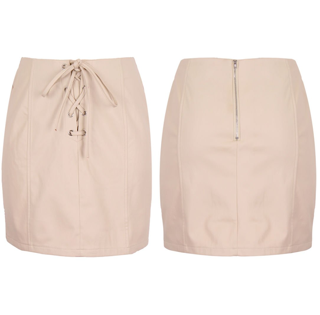 New Women High Waist Leather Look Stretchy Short Pencil Skirt 8-14 UK