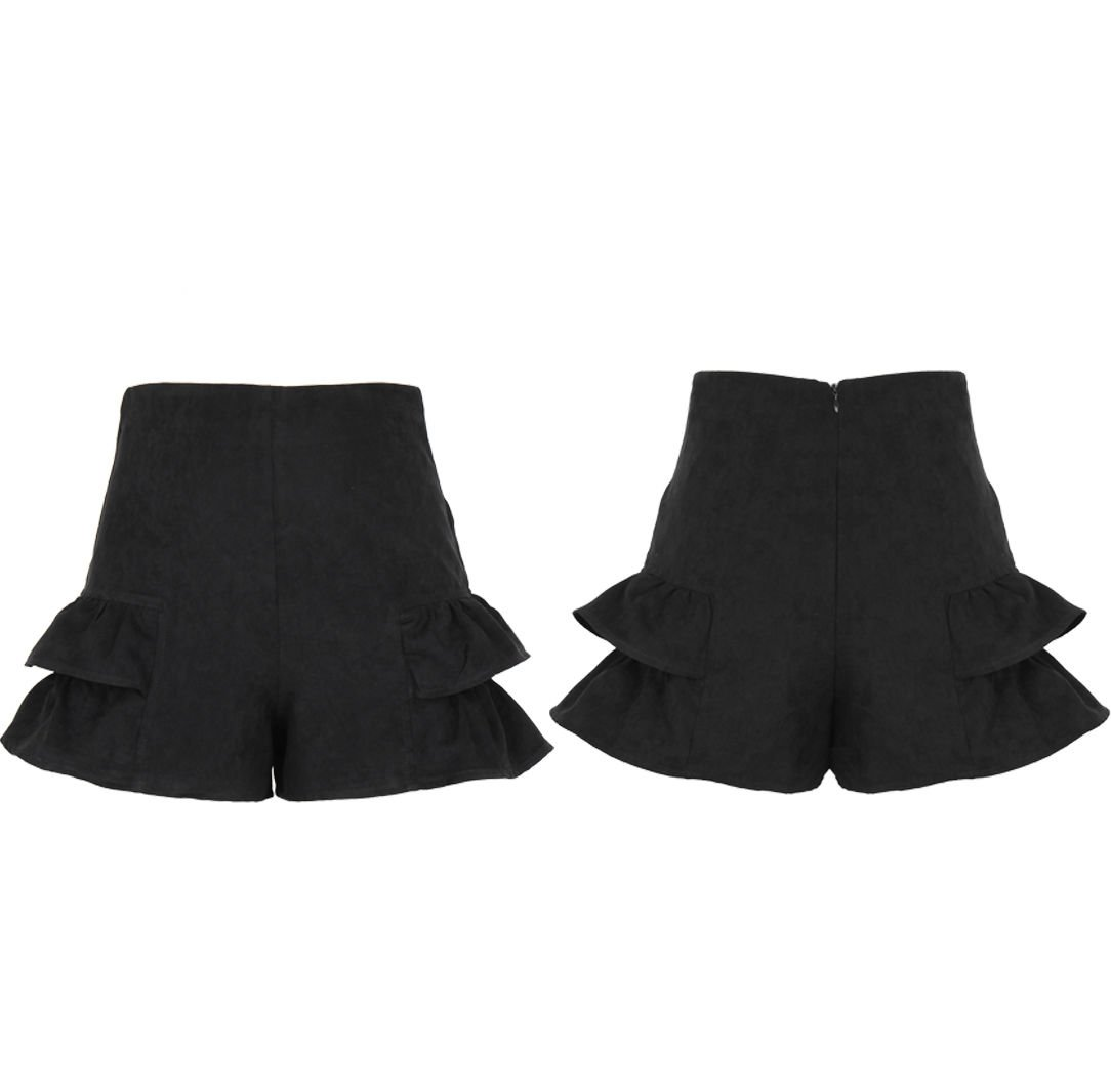 Fashion Women Ladies High Waist Summer Casual Frill Hot Pants Black Shorts (6-12)