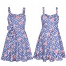New Women Chic Heart Neck Pleated A Line Flare Skirt Floral Dress Tunic 8-14 UK