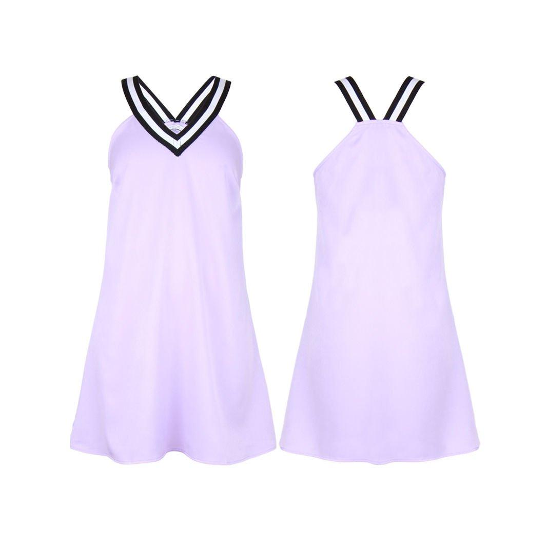 Womens Short Sleeve V Neck Mini Lilac Ladies A Line Skirt Casual Sport Dress UK Size 6 Lilac