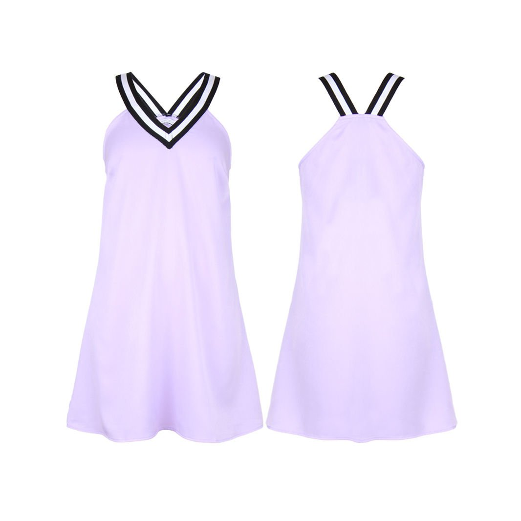 Womens Short Sleeve V Neck Mini Lilac Ladies A Line Skirt Casual Sport Dress UK