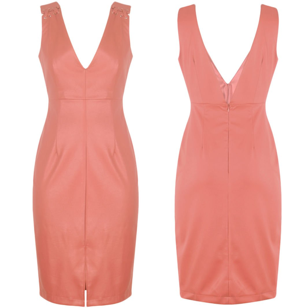 New Womens Sexy Body Con Faux Leather V Neck Rose Pencil Midi Dress UK Size 8 Pink