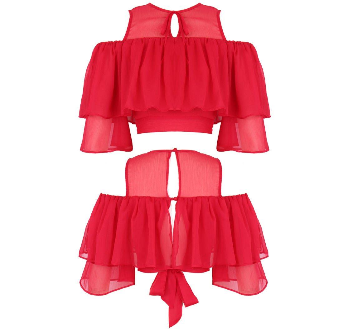 New Women Cold shoulder Chiffon 3/4 Bell Sleeves Off Shoulder Crop Top UK Size 10