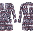 New Women Sexy Belted Ethnic Print Wrap V Neck 3/4 Sleeves Navy Play Suit UK Size 8