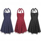 Women's Sweetheart Neckline Vintage Style 1950's Retro Rockabilly Evening Dress UK Size 8 Navy
