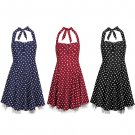Women's Sweetheart Neckline Vintage Style 1950's Retro Rockabilly Evening Dress UK Size 12 Navy