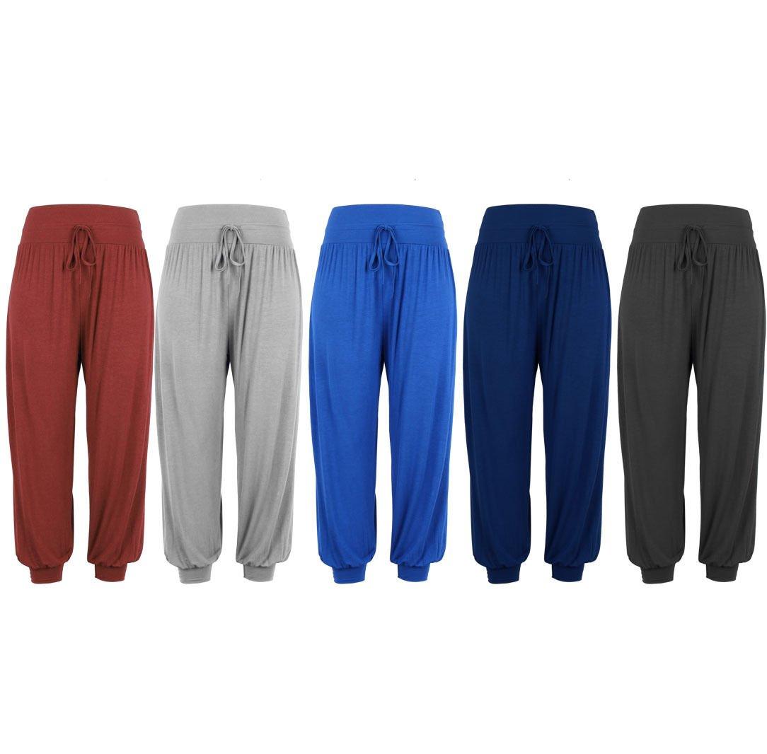 Women New Harem Trousers Pants Leggings Ladies Baggy Aladdin Boho Hippy UK Size 14 Blue