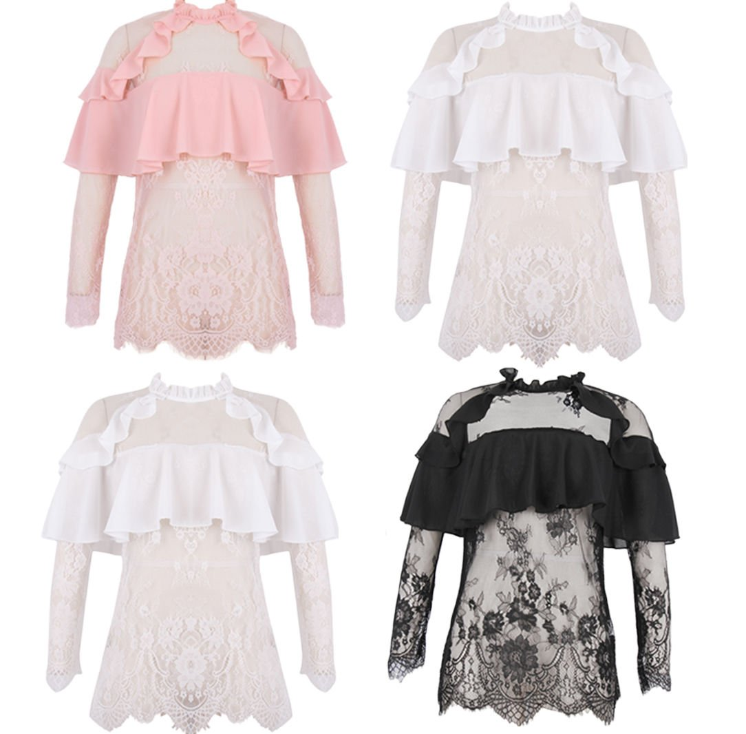 New Women Embroidery Floral Lace Crochet High Collar Long Sleeve Tops Blouse UK Size 6 Pink