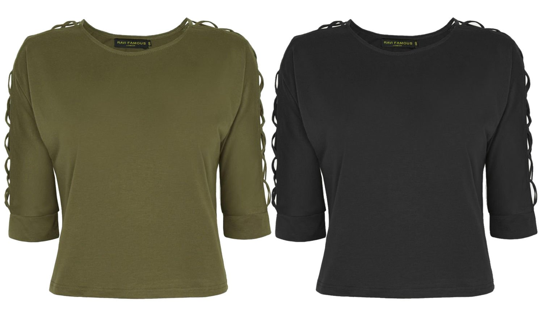 New Ladies Criss Cross 3/4 Sleeve Boho Style Round Neck Crop Top Blouse Shirt UK Size 6 Khaki