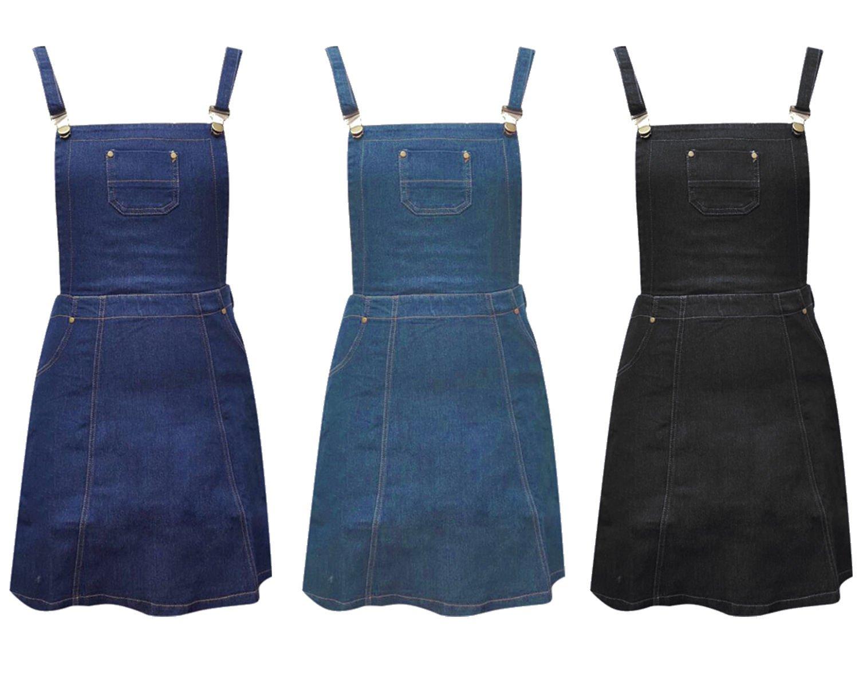 New Women 80'S Denim Jean A Line Skater Dungaree Black Pinafore Dress UK Size 14 Denim Blue