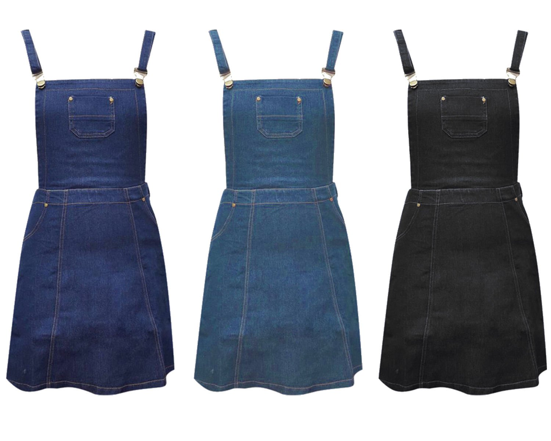New Women 80'S Denim Jean A Line Skater Dungaree Black Pinafore Dress UK Size 16 Indigo