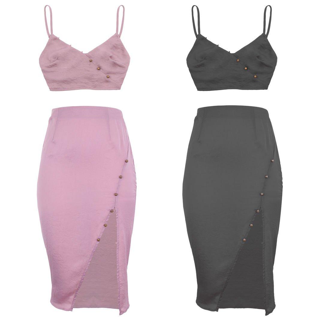 New Strappy Cropped Top Women Pencil Midi Bodycon Skirt Co Ord Set UK Size 8 Black