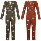 New Ladies Floral Print V Neck Long Sleeves Play-suit Jumpsuit Dress UK Size 14 Red