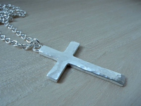 Large cross necklace sterling silver Mens cross pendant christian jewelry gift for him