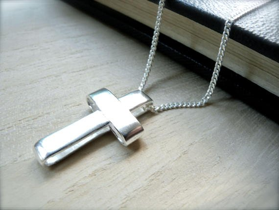 Unisex sterling silver cross necklace Blessing faith jewelry - simple handmade christian jewelry