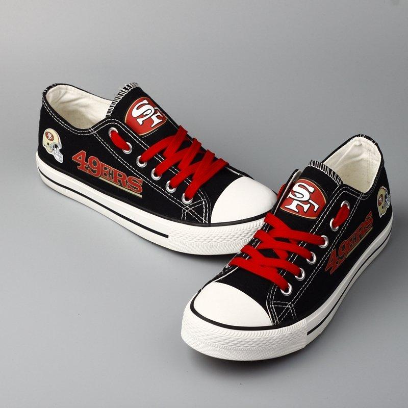 65a97466930 San Francisco 49ers Shoes Canvas Sneakers for men women sale Black Hamlet