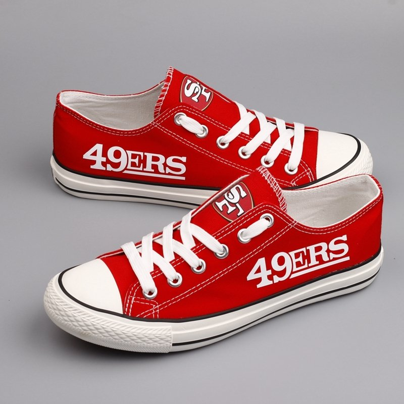 18f8a43a San Francisco 49ers Shoes for Men Women 49ers Gifts Merchandise Cheap  Canvas Sneakers Red