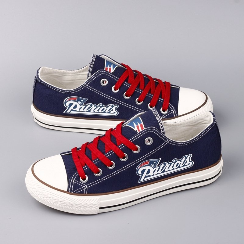 5520188c3667b New England Patriots Gift Ideas for Men Women Dad Custom Canvas Shoes  Sneakers Blue