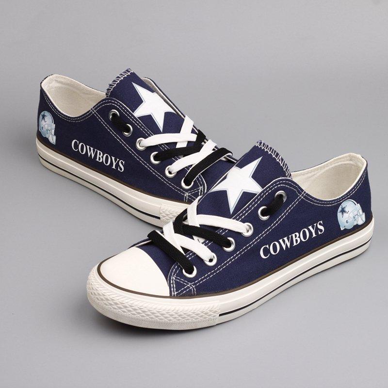 b9a4e26b69c Custom Dallas Cowboys Football Shoes for Sale Men Women Canvas Sneakers  Blue Hamlet
