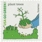 USPS SHEET of 20 USA Go Green Plant Trees First Class Postage Forever Stamps Booklet