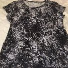 Daisy Fuentes Women's my Favorite T Top Sz XL Black & White Splatter Print Cute!