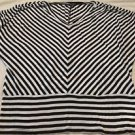 Cable & Gauge Women's Dolman Sleeve V-neck Black & White Stripe Top Sz 2X