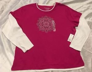 MADE FOR LIFE Women's Pink & White Long Sleeve Crew Top Sz 2X New $30