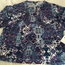 CHAPS Women's 2X Tunic Top Blouse 3/4 Sleeves Multi Print Blue Purple $55