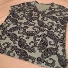 CROFT & BARROW Brand Women's V-neck Top Sz XL Blue, Paisley, Short Sleeve, Cute!