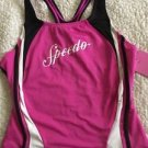 NEW Speedo Swimsuit Tankini Top Hot Pink, Black & White Girls Size 16 Racerback