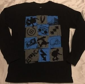 "NEW Black Long Sleeve ""Long John"" Style Graphic Shirt Boys XXL 18 Skateboarding"
