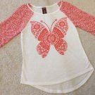 Arizona Jeans Co. 3/4 Sleeve Top Orange & White Sz Large 14 Butterfly Design NEW