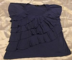 AB Studio Women's XL Blue Flutter Sleeve Tiered Top Pretty! Free Shipping