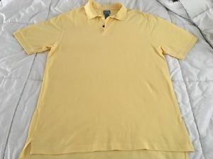 Jos A Bank Mens Stay Cool Yellow 100% Cotton Short Sleeve Polo XL Free Shipping