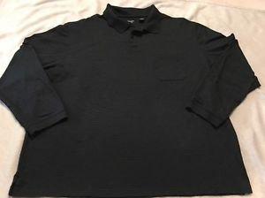 Haggar Men's XL Black Long Sleeve Shirt Vented Hem Chest Pocket Free Shipping