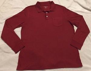 Croft & Barrow Men's Long Sleeve Polo Sz XL Dark Red, Soft, Nice!