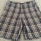 Mens* Blue & Gray Plaid* Flat Front Shorts Size 34 Free Shipping